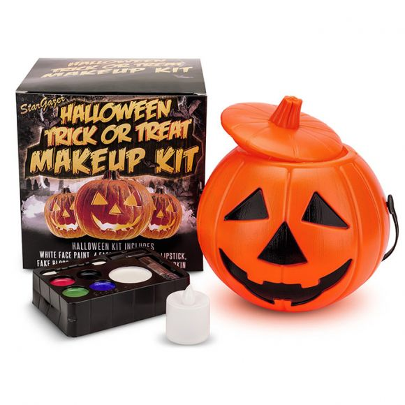 Halloween Trick Or Treat Pumpkin Kit, includes Face Paint, Black Lipstick & Fake Blood